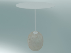 Coffee table Lato (LN8, Ø40cm, H 50cm, Ivory white & Crema Diva marble)
