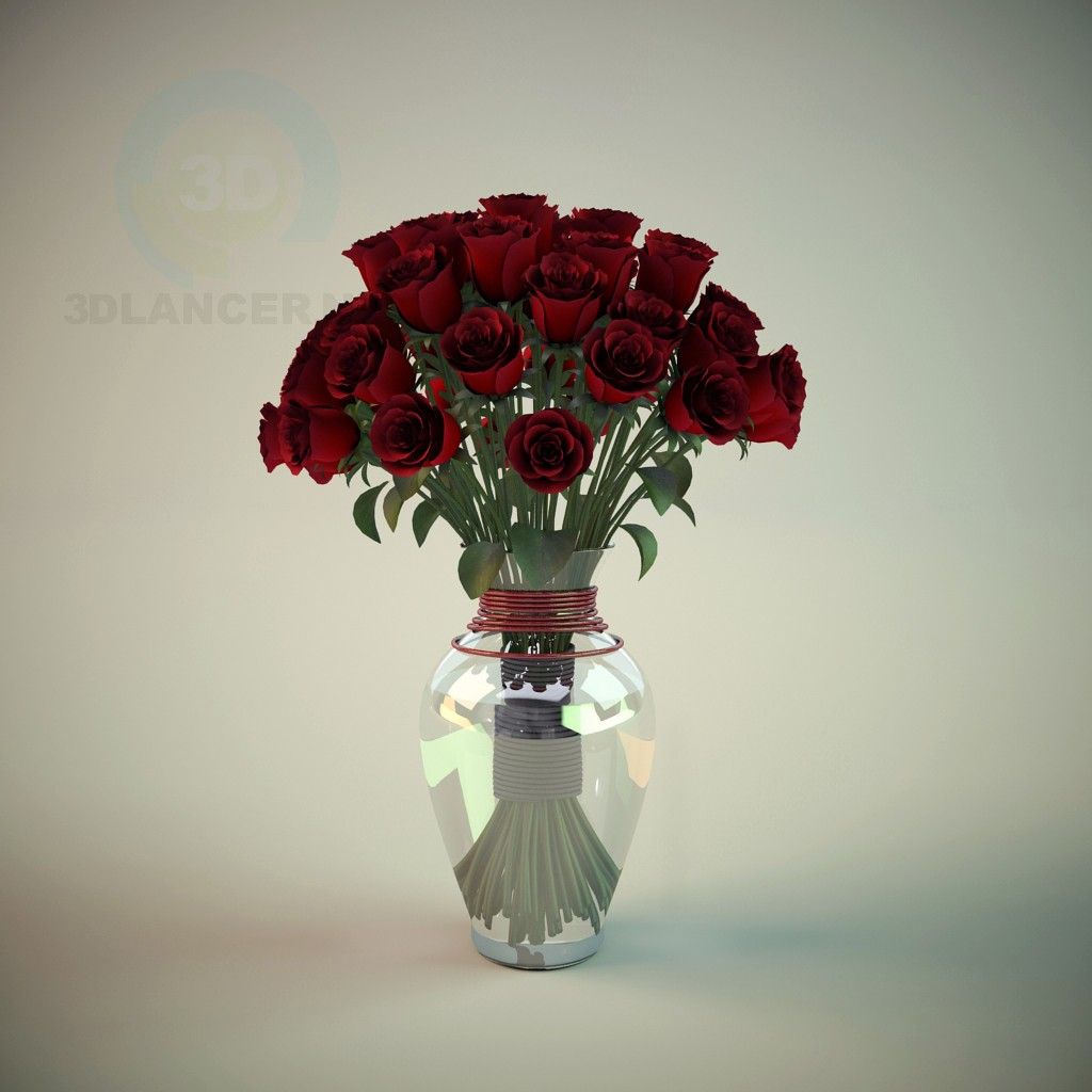 3d model Vase with Roses - preview