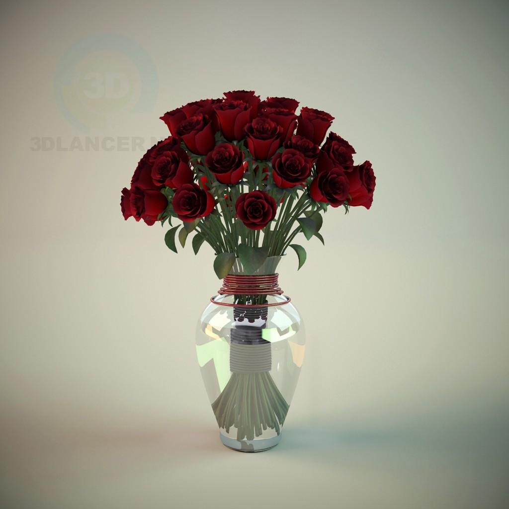 modelo 3D Florero con rosas - escuchar