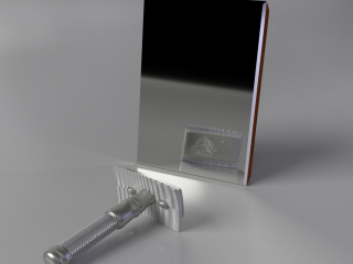 The razor (metal) with a blade