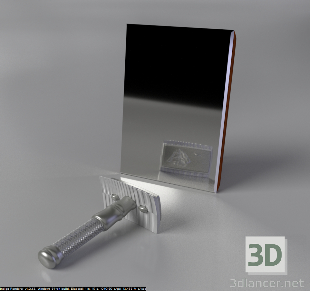 3d model The razor (metal) with a blade - preview