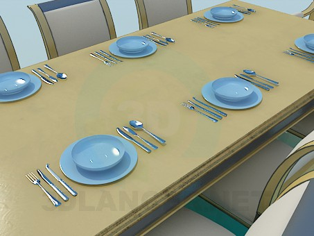 3d model Table and chairs for guests - preview