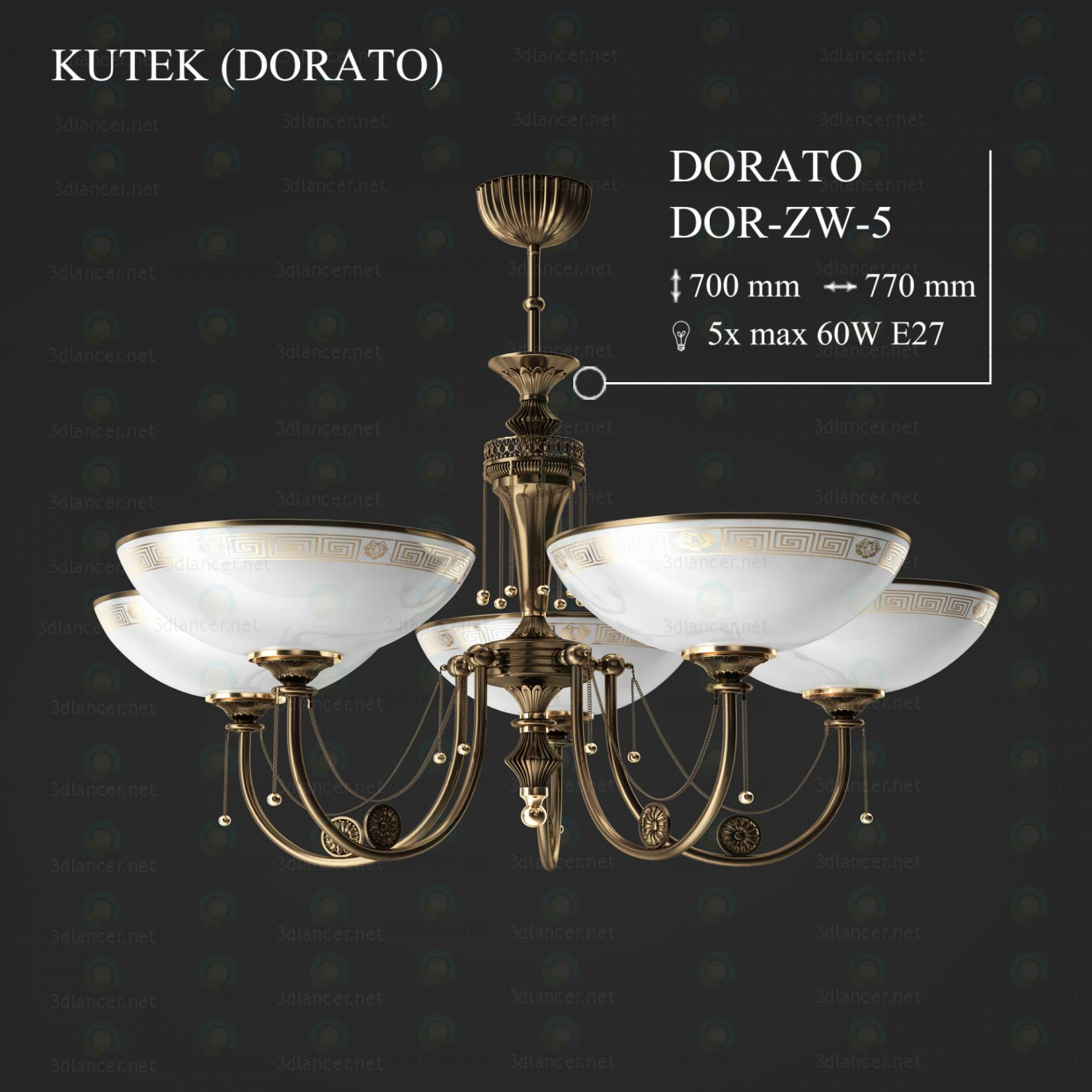 3d model Chandelier KUTEK DORATO DOR-ZW-5 - preview