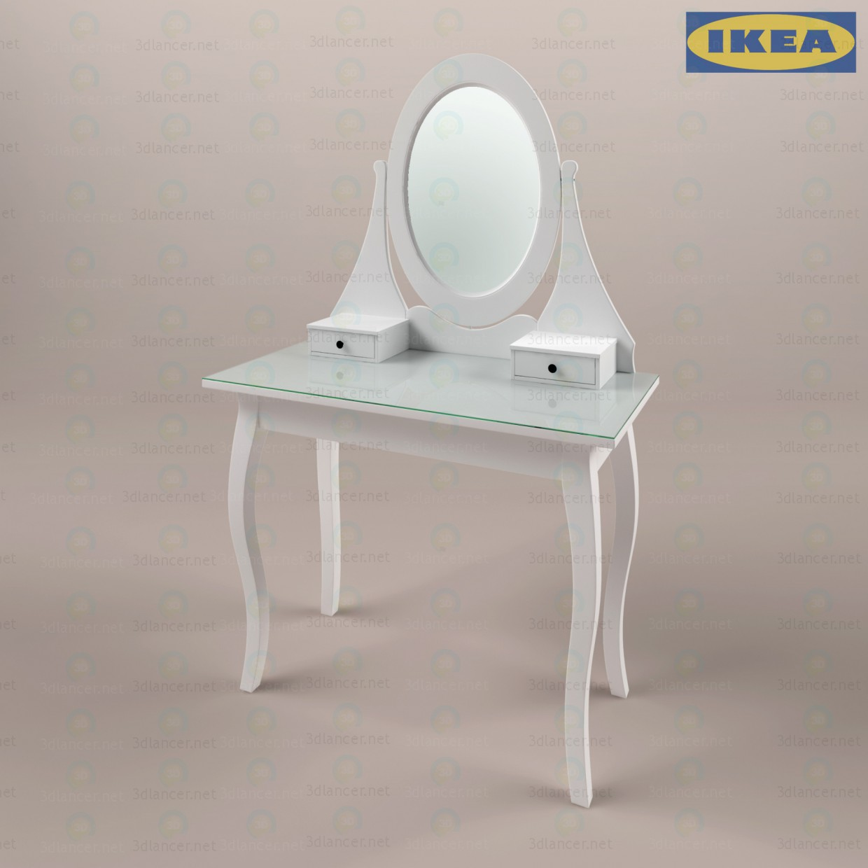 3d model hemnjes ikea dressing table with mirror in the style of renaissance id 13995. Black Bedroom Furniture Sets. Home Design Ideas