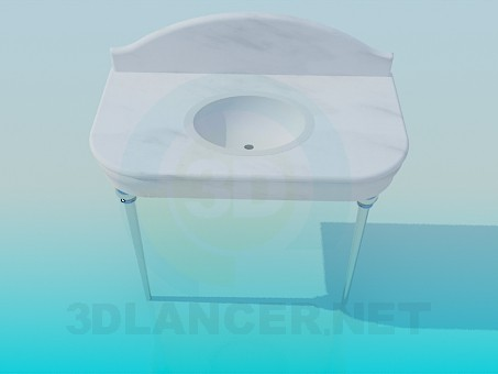3d model Wash basin with top - preview