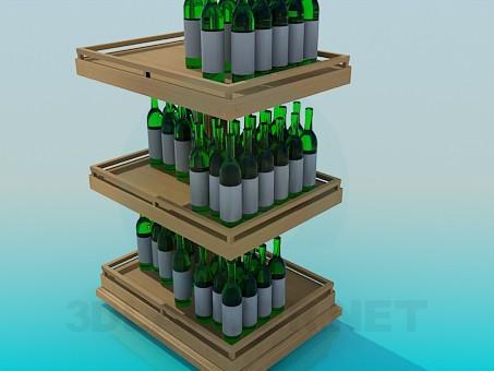 3d model Wine shelf - preview