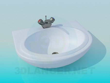 3d model Sink with mixer the old model - preview