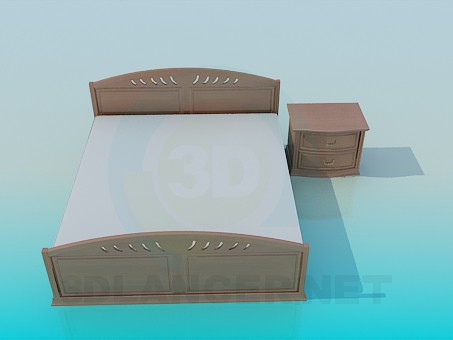 3d model Bed with a cupboard - preview