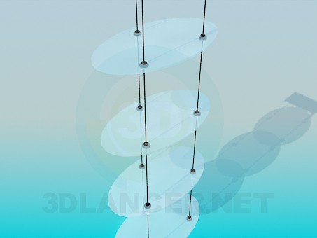 3d model Hinged shelves with oval glass shelves - preview