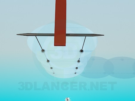 3d модель Навісна етажерка з овальними скляними полицями – превью