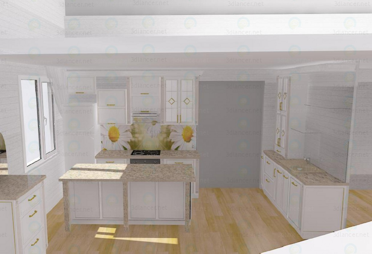 3d modeling Daisy kitchen with island model free download