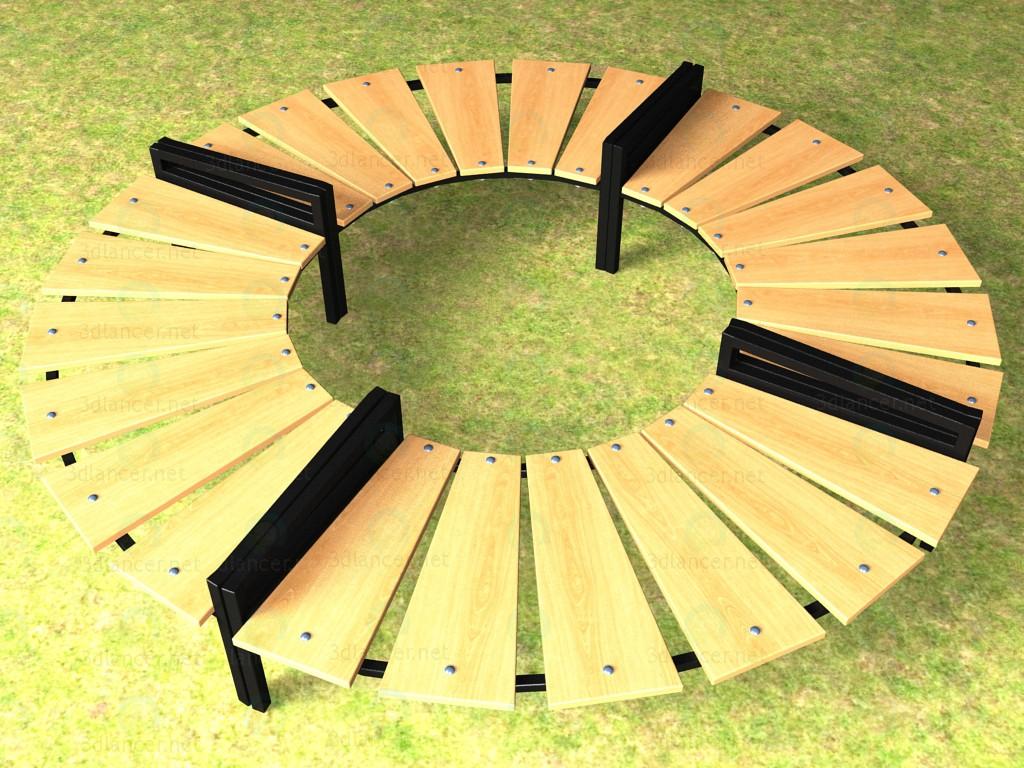 3d Скамейка круговая модель купить - ракурс