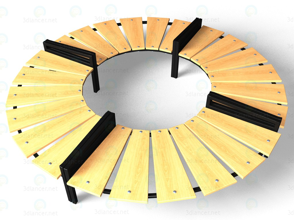 3d Bench circular model buy - render